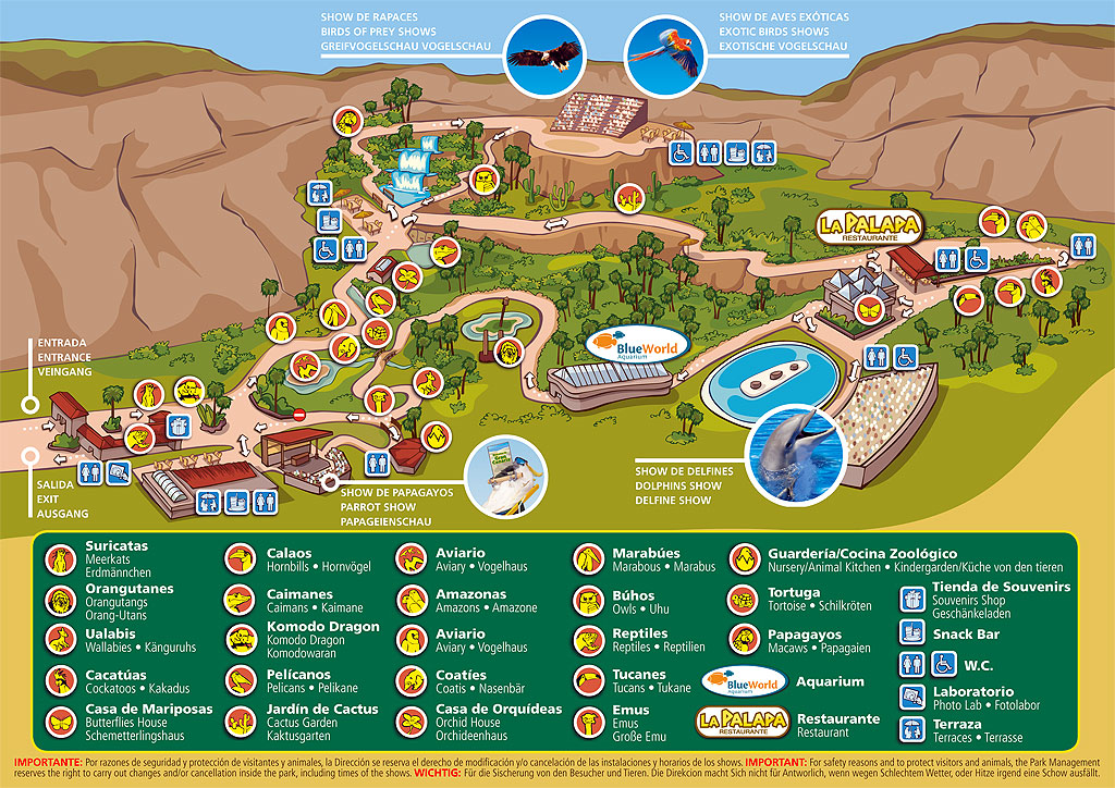 Plan your visit to Palmitos Park with our Park Map